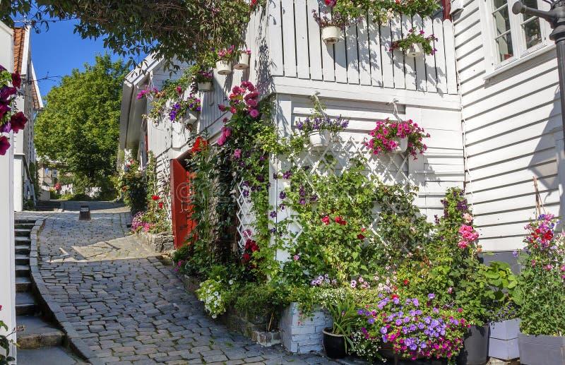 Stavanger, Noorwegen, het Historische centrum van de stad royalty-vrije stock foto's