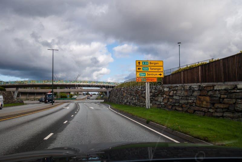 Stavanger Norway Extremt the city north bound with road Sign to Bergen and Tananger fotografering för bildbyråer