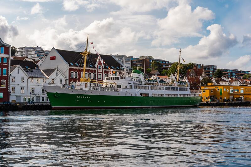 Stavanger Norway The old ship Sandnes moored at the quay on a bright day. Editorial 09.02.2019 Stavanger Norway The old ship Sandnes moored at the quay on a stock photography
