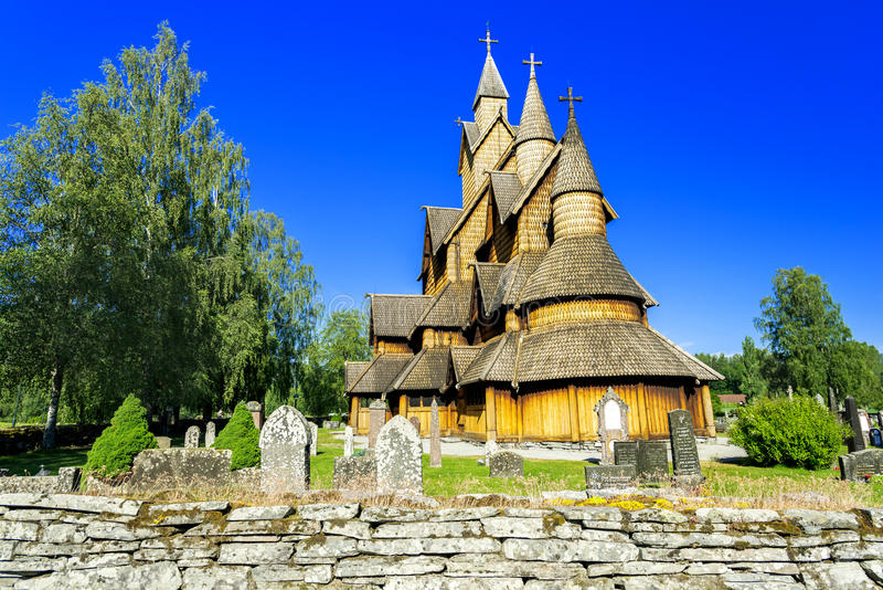 Stave Church in Heddal stock afbeelding