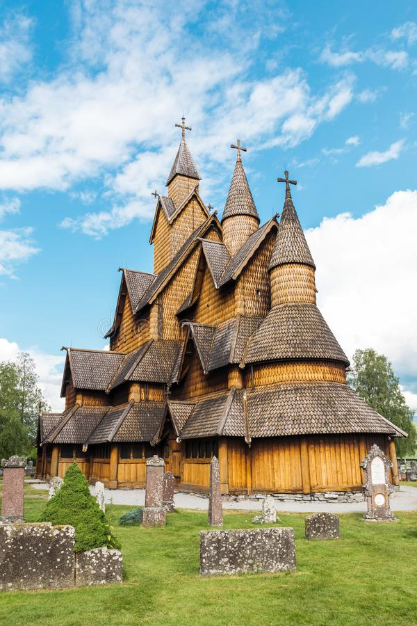 Stave Church Heddal Norway arkivfoton