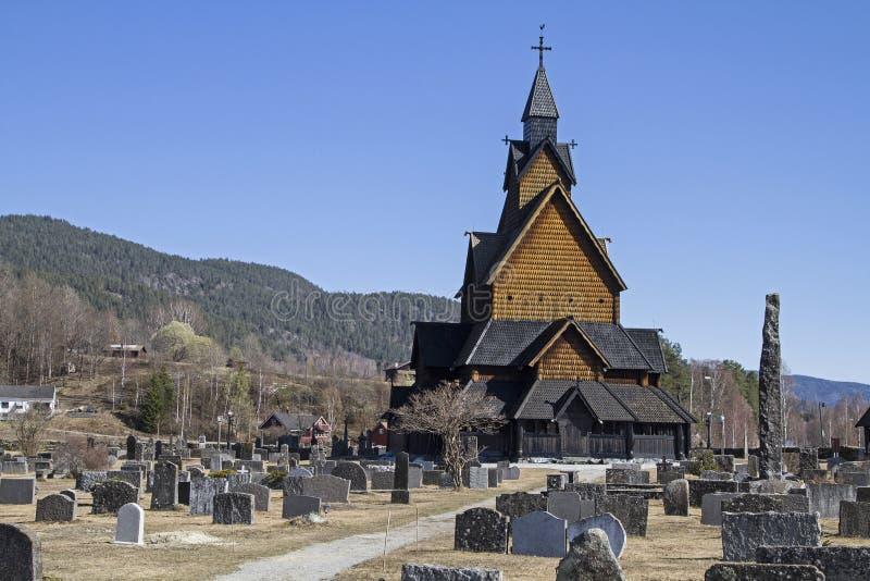 Stave Church Heddal in Telemark lizenzfreie stockfotos