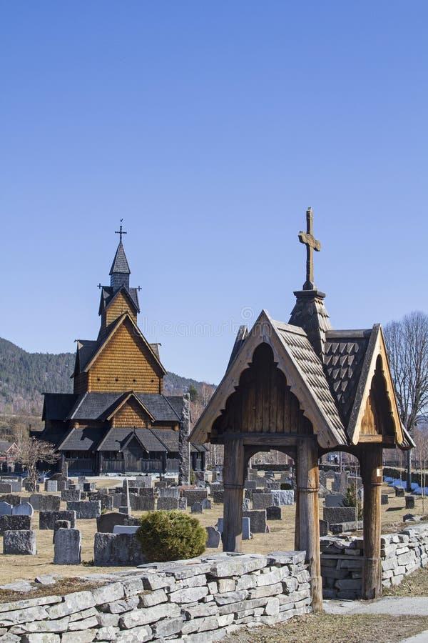 Stave Church Heddal in Telemark lizenzfreie stockbilder