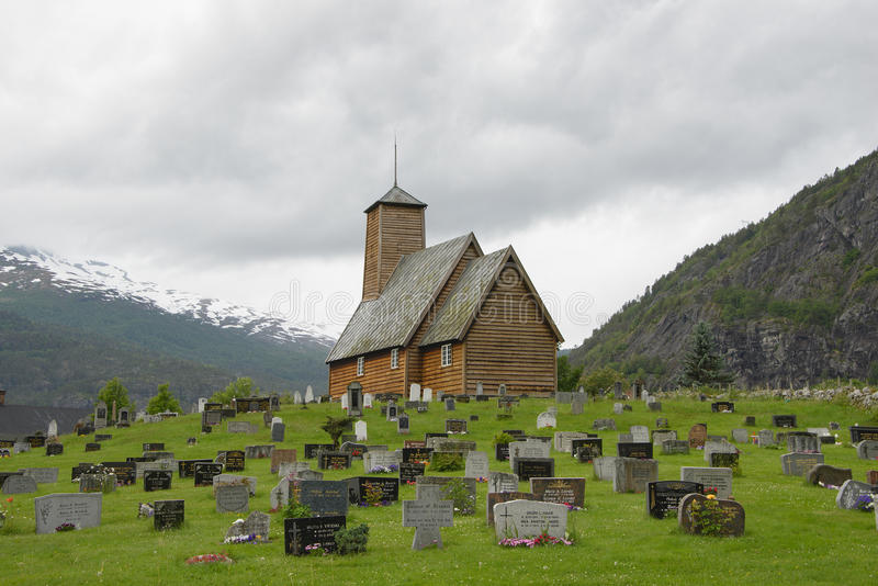 Stave church in Norway stock photo