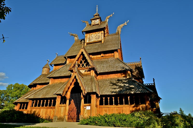 Stave church of Norwegian design stock photography
