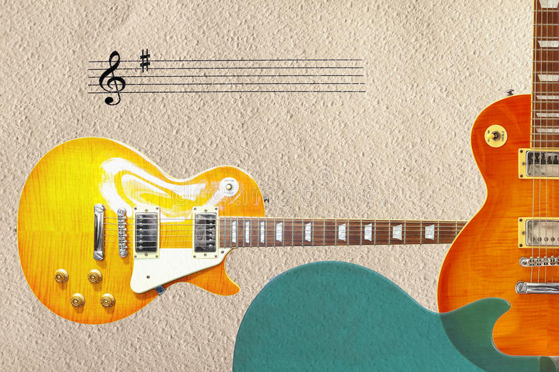 Stave and two sunburst vintage electric guitars and back of guitar body on the right side of rough cardboard background. stock photography