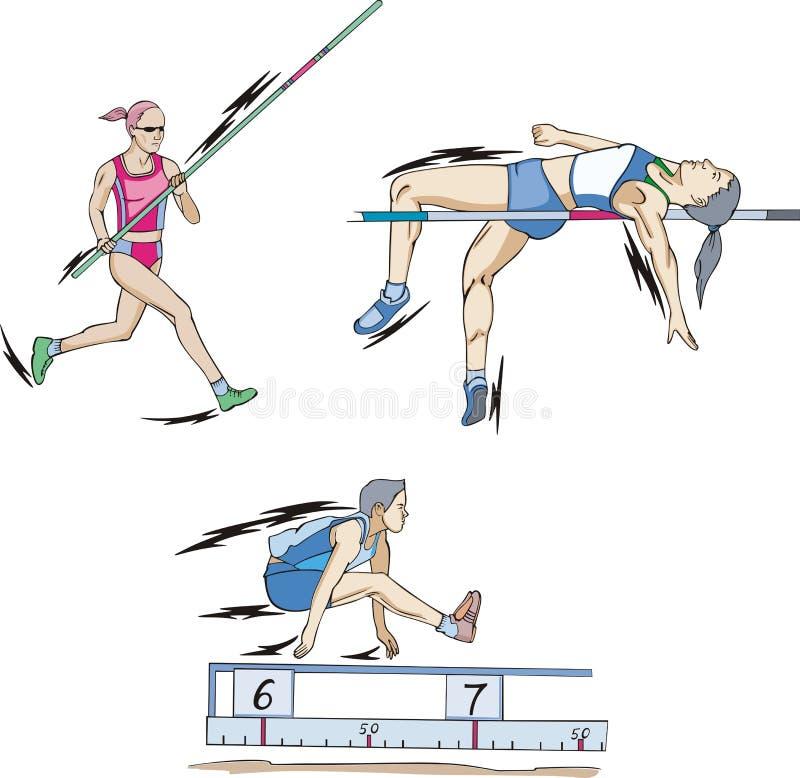 Stavhopp, höjdhopp och längdhopp stock illustrationer