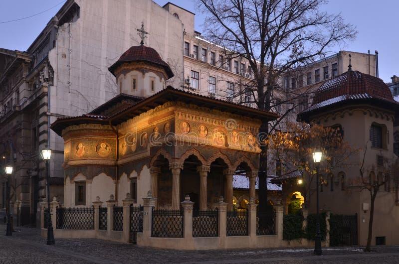 Stavropoleos-Kloster in der Dämmerung stockbild