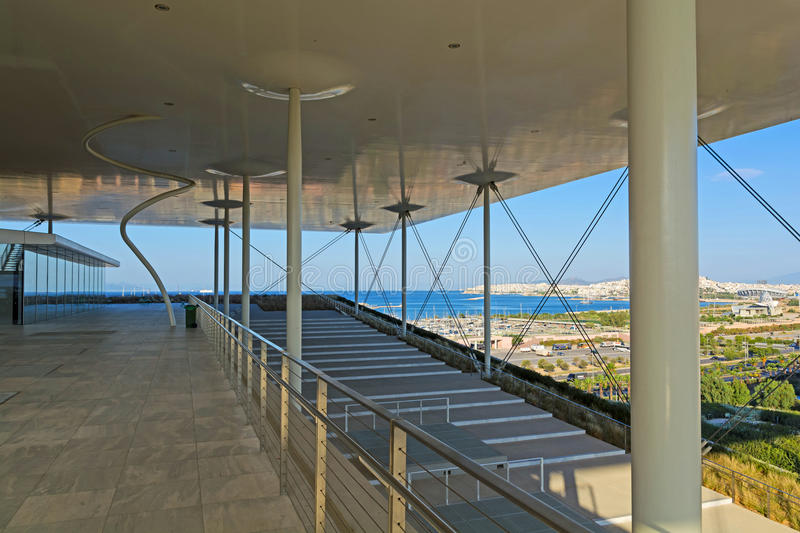 Stavros Niarchos Foundation Cultural Center SNFCC in Athens. Detail of the Stavros Niarchos Foundation Cultural Center SNFCC in Athens - Greece, designed by the royalty free stock photo