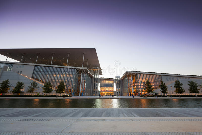 Stavros Niarchos Foundation Cultural Center SNFCC in Athens. View of the Stavros Niarchos Foundation Cultural Center SNFCC in Athens - Greece, designed by the royalty free stock images
