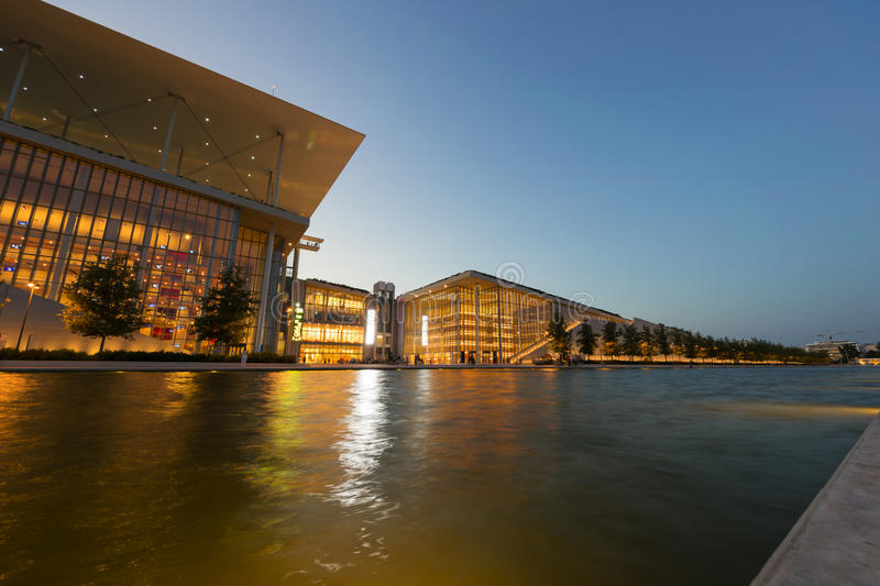 Stavros Niarchos Foundation Cultural Center SNFCC in Athens. View of the Stavros Niarchos Foundation Cultural Center SNFCC in Athens - Greece, designed by the stock photography
