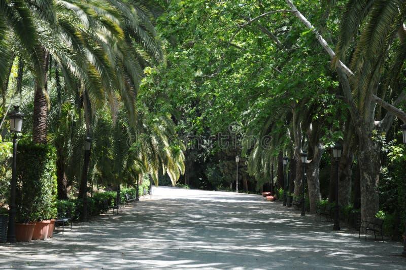 Staw i pawilon w Concepcion ogródzie botanicznym Malaga andalusia Hiszpania obrazy stock