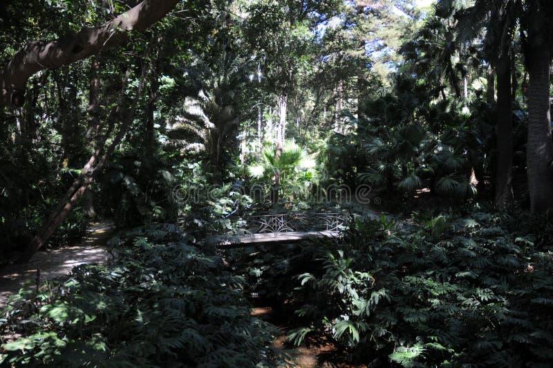 Staw i pawilon w Concepcion ogródzie botanicznym Malaga andalusia Hiszpania zdjęcie royalty free