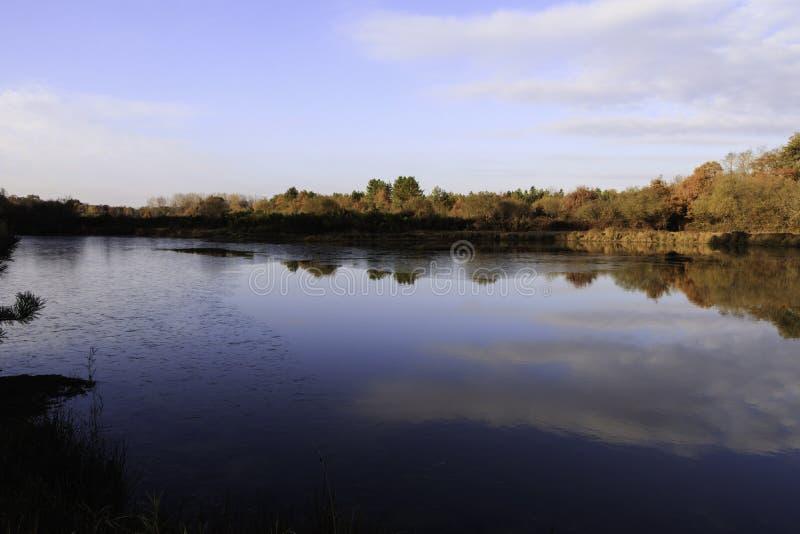 Staw w jesieni z wschód słońca nad tłem zamarznięta woda, drzewa w Listopadzie barwi z niebieskim niebem i chmurą fotografia royalty free