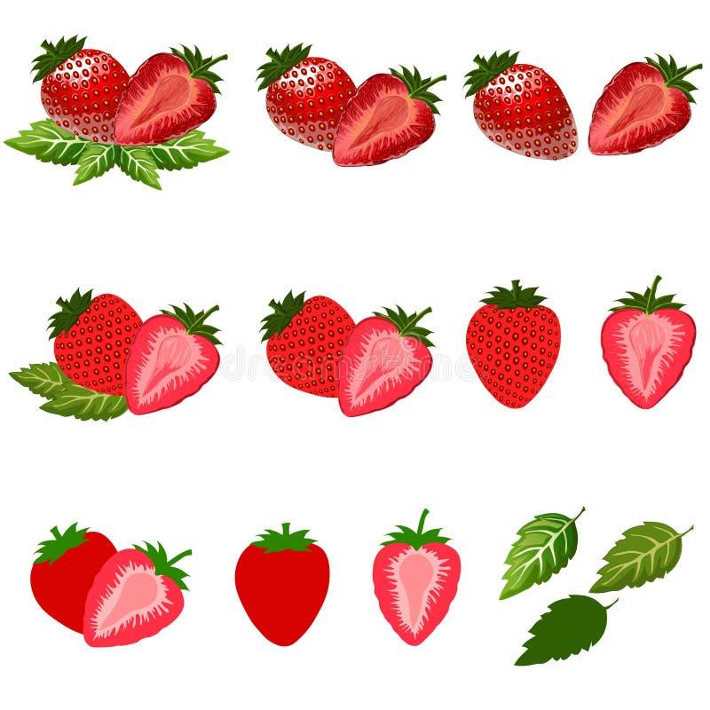 Stawberry在白色隔绝了与裁减路线 库存照片