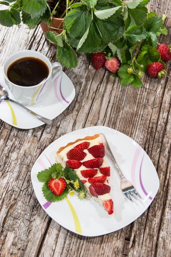 Stawberrycake en een kop van Koffie royalty-vrije stock fotografie