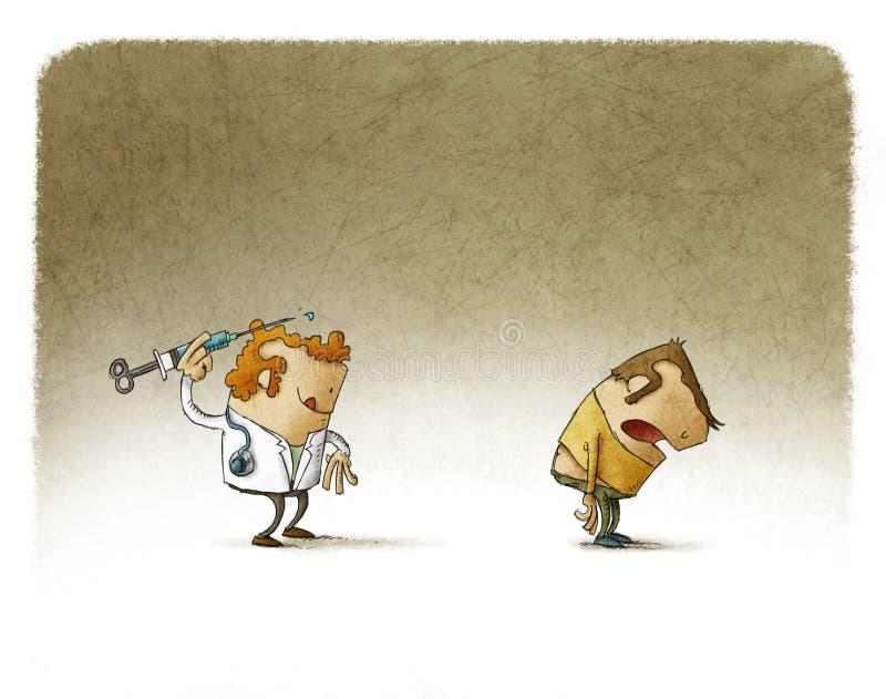 Stawiać szczepionki jako strzałka ilustracji