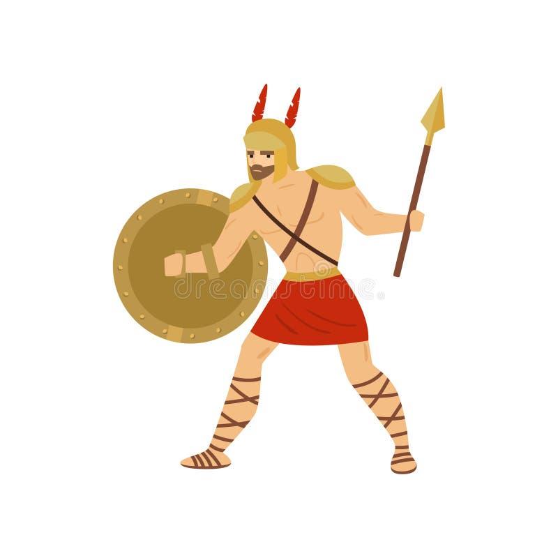 Stawia czoło caucasian gladiatora bój z dzidą i osłoną odizolowywającymi na białym tle royalty ilustracja