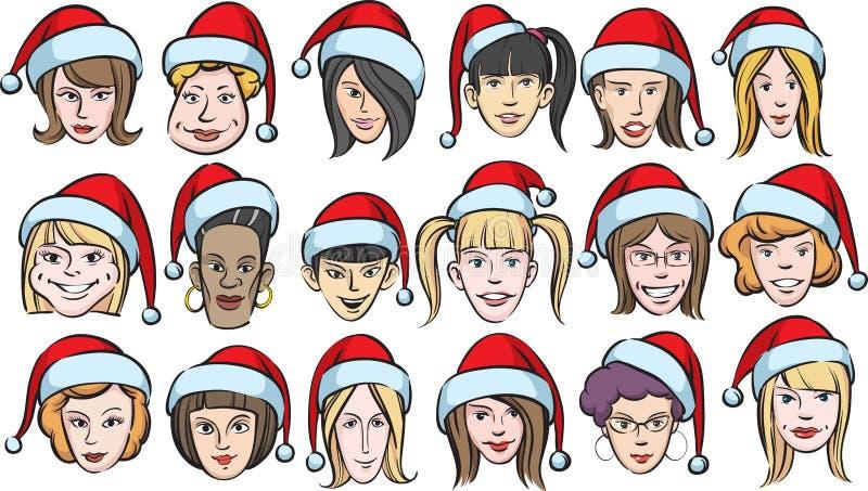 stawia czoło śmieszne kapeluszy Santa kobiety ilustracja wektor