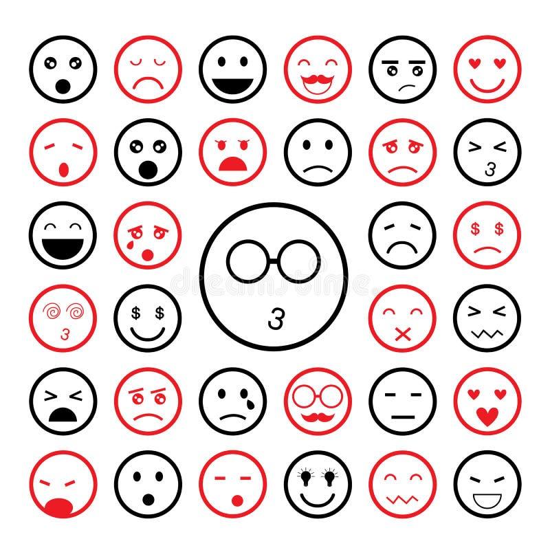 Stawia czoło emoticon ikony ustawiać ilustracji
