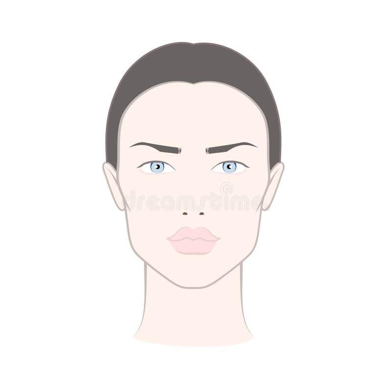 Stawia czoło mapę dla makeup kobieta z niebieskimi oczami, brown włosy ilustracja wektor