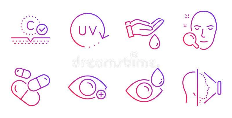 Stawia czoło rewizję, oko krople i Ultrafioletowe ochron ikony ustawiających, Obmycie ręki, kapsuły pigułka i kolagen skóra znaki ilustracji