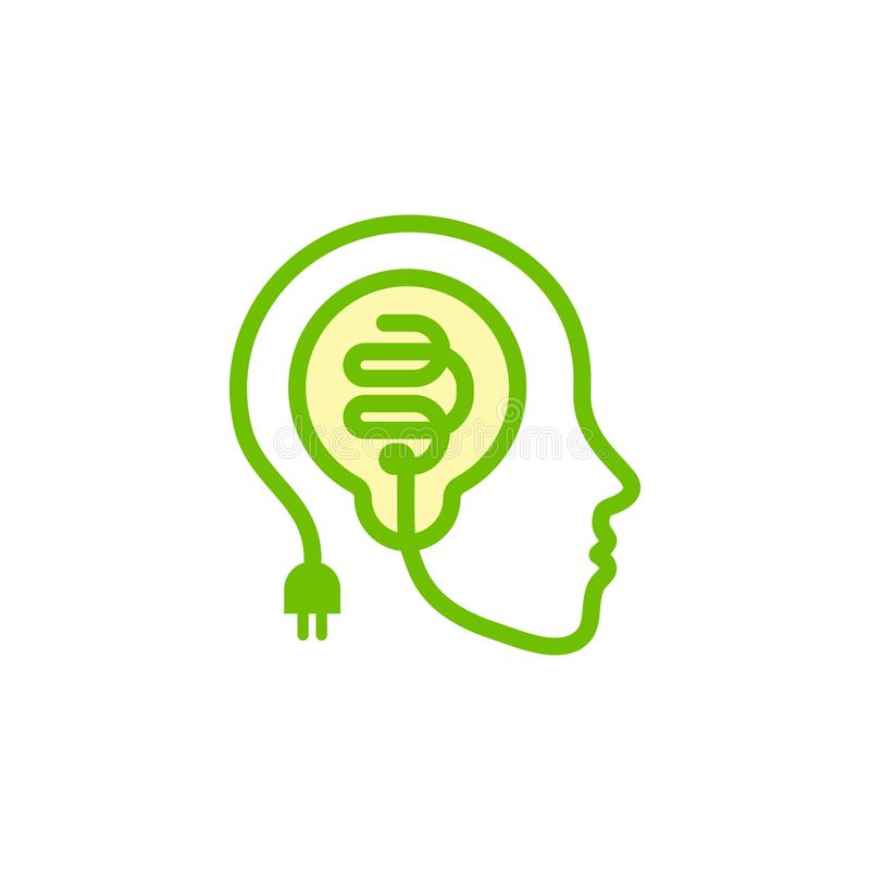 Stawia czoło sylwetkę, kontur od stylizowanego elektrycznego drutu z żarówką wśrodku głowy Pomysł ikona, kreatywnie móżdżkowy sym ilustracji
