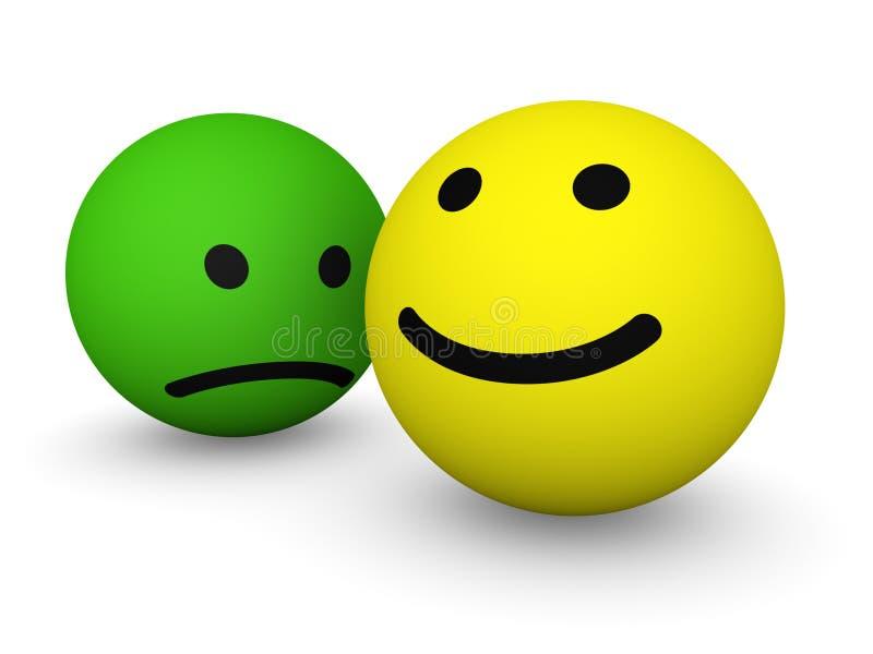 stawia czoło szczęśliwego smutnego smiley royalty ilustracja
