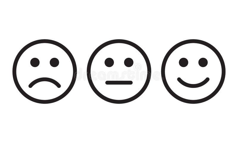 Stawia czoło uśmiech ikony pozytyw, negatywni neutralny opinii wektoru znaki ilustracji