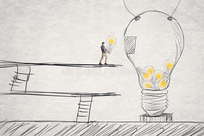 Stawia małych pomysły w duży jeden ilustracja wektor