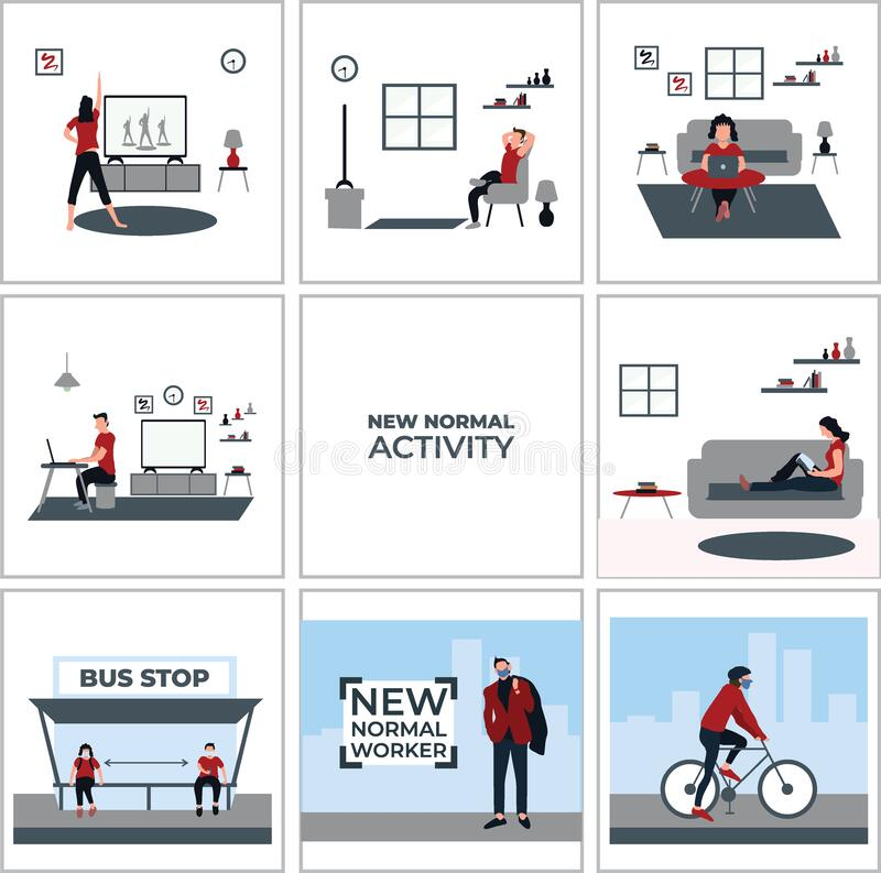 Free Stay At Home Activity, Social Distancing And Wear Masker At The Bus Stop, New Normal Worker, Ride A Bike - Flat Illustrations Stock Images - 193531934