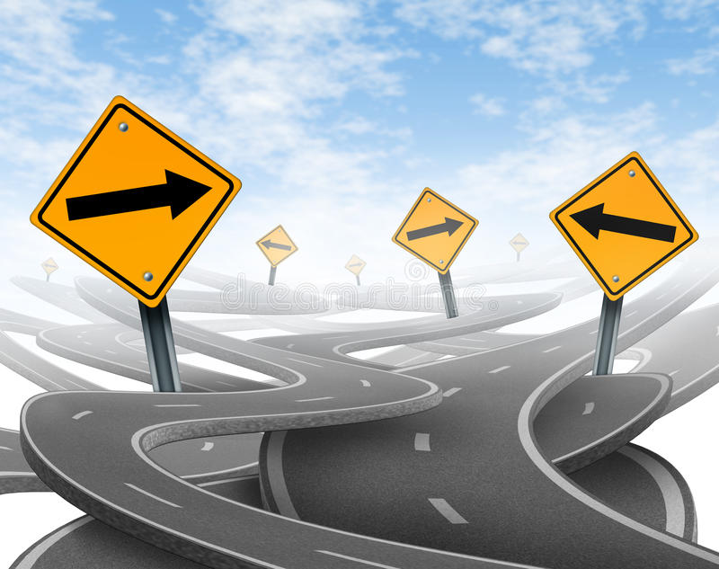 Stay on course. Symbol representing dilemma and concept of losing control of onesgoals and strategic journey choosing the right strategic path for business with stock illustration