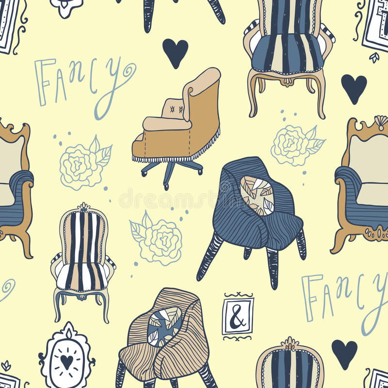Stay Fancy illustrations, seamless patterns. Stay Fancy illustrations set. Hand drawn furniture and lettering, interior decorations, frames. Seamless pattern royalty free illustration