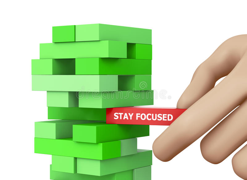 STAY FOCUSED. CONCEPT 3d rendering royalty free illustration