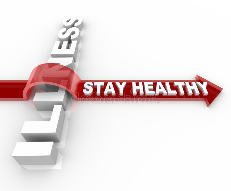 Stay Healthy - Words Jumping Over Illness Stock Images