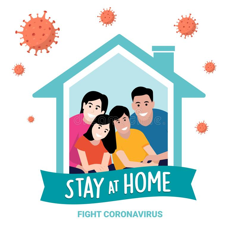 Stay at home campaign on coronavirus illustration royalty free stock photos