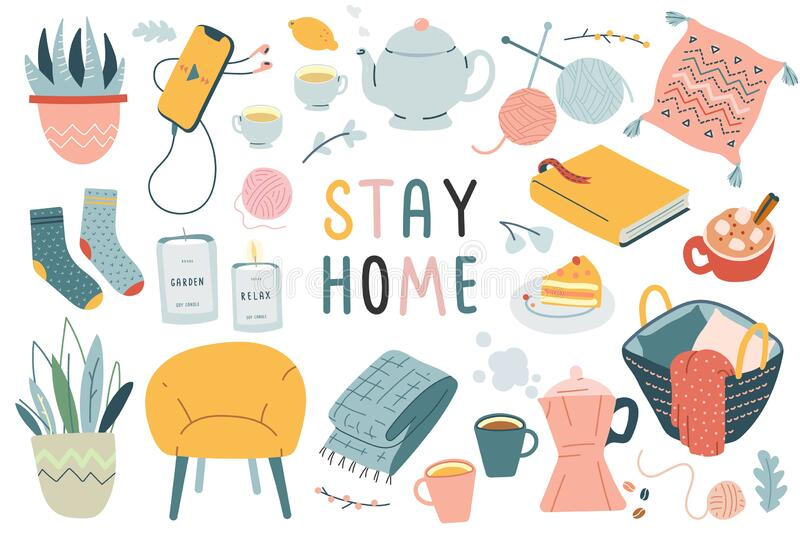 Stay home collection, indoors activities, concept of comfort and coziness, set of isolated vector illustrations. Modern hand drawn art, scandinavian hygge royalty free illustration