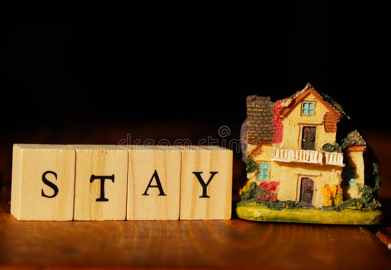 Stay home concept. Stay home concept with a colorful house royalty free stock image