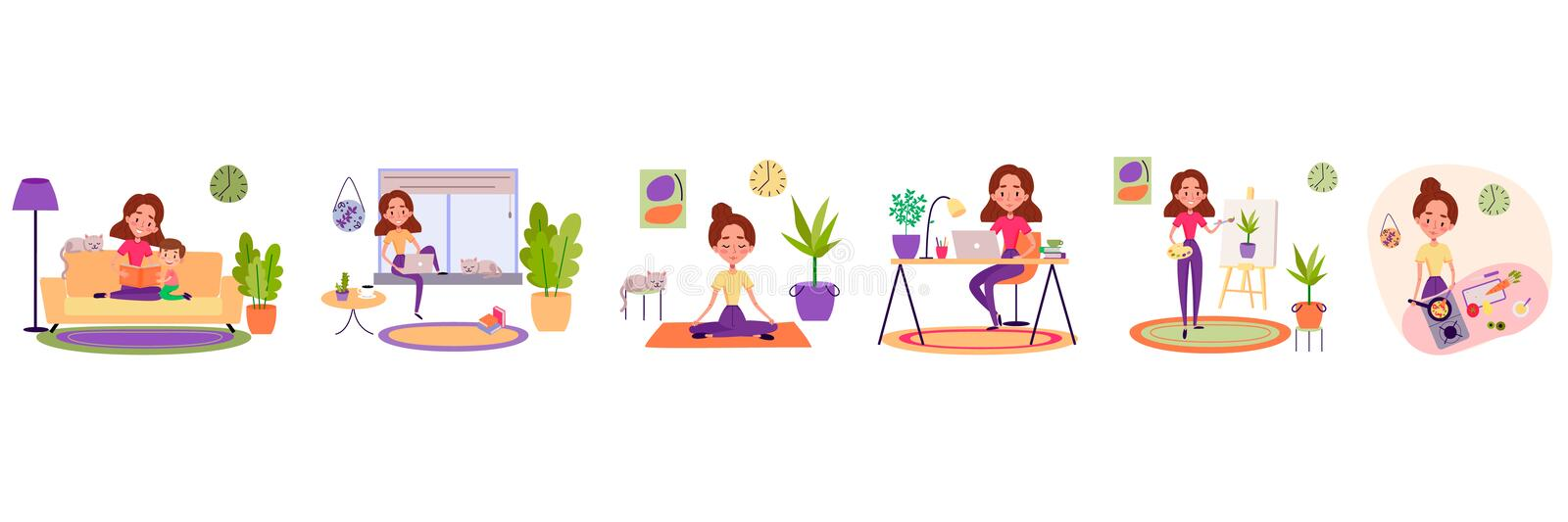 Stay home concept. Girl takes care for children, working remotely, doing yoga, drawing and cooking. Cozy modern scandinavian interior vector illustration
