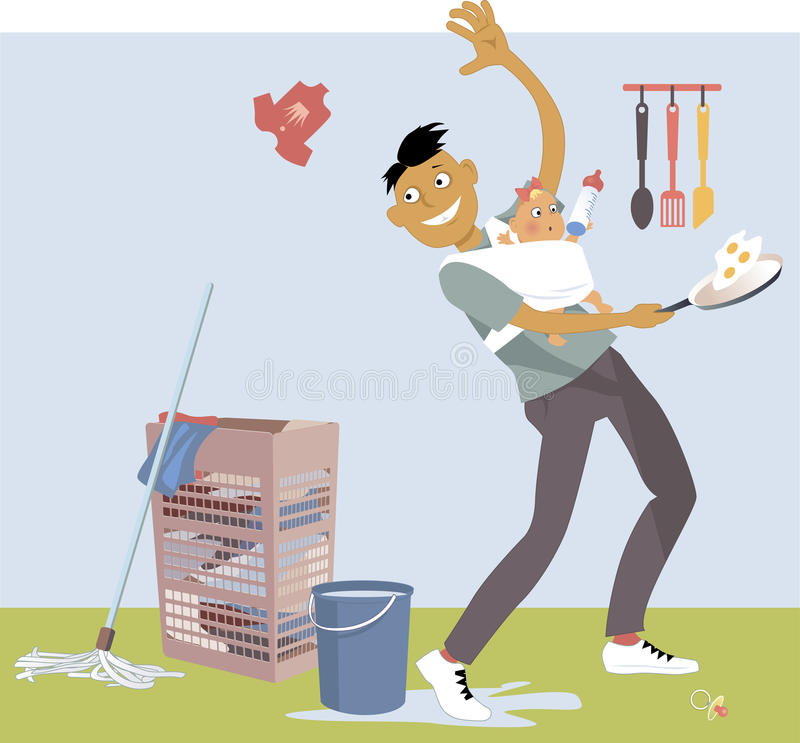 Stay-at-home Dad multitasking. Stay-at-home dad with a baby in a sling, performing multiple house chores, vector cartoon, no transparencies, EPS 8 royalty free illustration