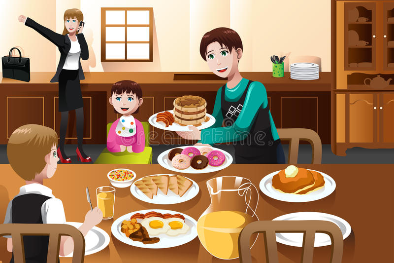 Stay at home father eating breakfast with his kids royalty free illustration