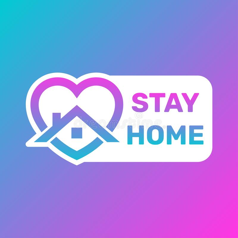 Stay Home Icon and Button, Stay home taches, House with heart shape,爱待在家中,家中照护标志,矢量图 皇族释放例证