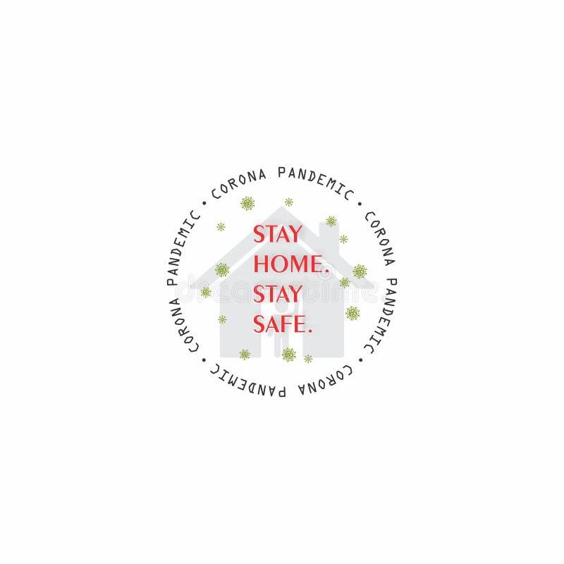 STAY HOME STAY SAFE corona virus kampania informacyjna graficzna w programie Round Badge design Vector clipart ilustracja wektor