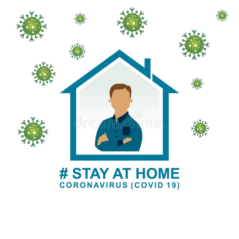 Stay at home,save the planet from coronavirus, stay safe, stay indoors. coronavirus prevention COVID 19. Isolated on a white background vector illustration