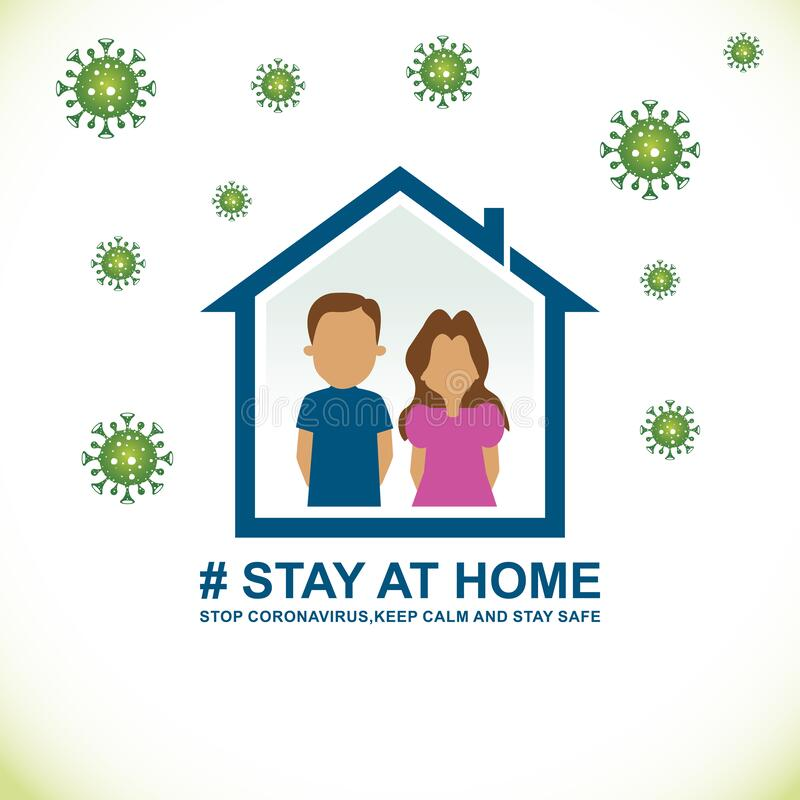 Stay at home,save the planet from coronavirus, stay safe, stay indoors. coronavirus prevention COVID 19. Isolated on a white background stock illustration