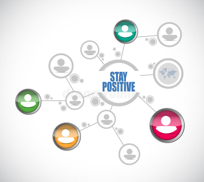 stay positive connections sign illustration design stock illustration