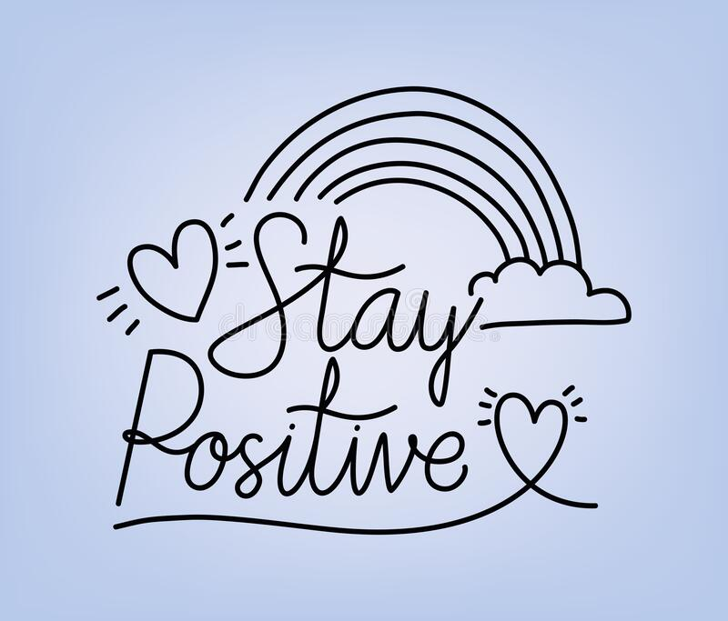 Stay Positive Swirl Rainbow Quote Print