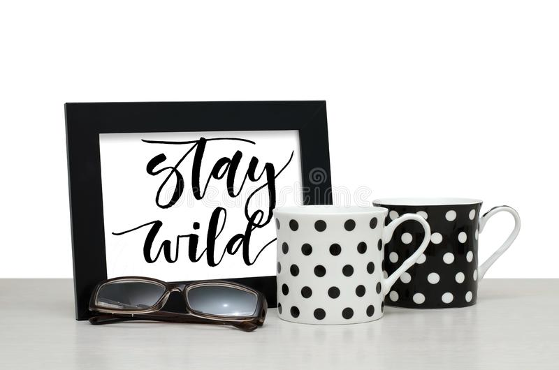 Stay wild. Handwritten inscription in the frame. Modern calligra royalty free stock image