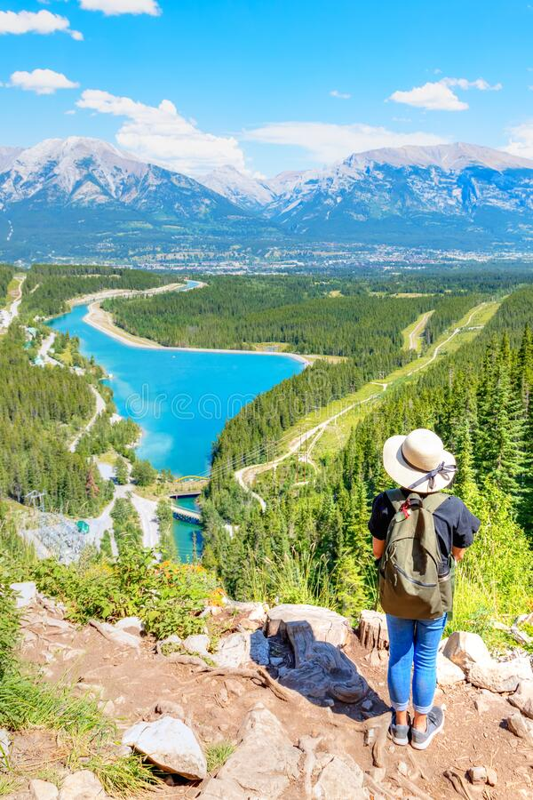 Free Staycation Hike On Top Of Mountain Overlooking Local Town Of Canmore And Kananaskis Royalty Free Stock Photo - 192602755