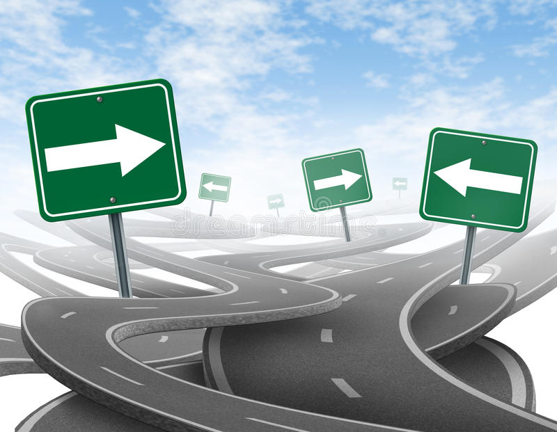 Staying on course. Symbol representing dilemma and concept of losing control of onesgoals and strategic journey choosing the right strategic path for business stock illustration